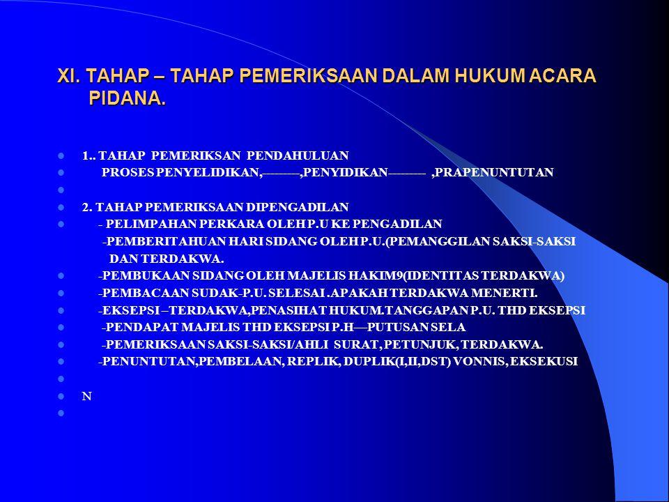 XI. TAHAP – TAHAP PEMERIKSAAN DALAM HUKUM ACARA PIDANA.