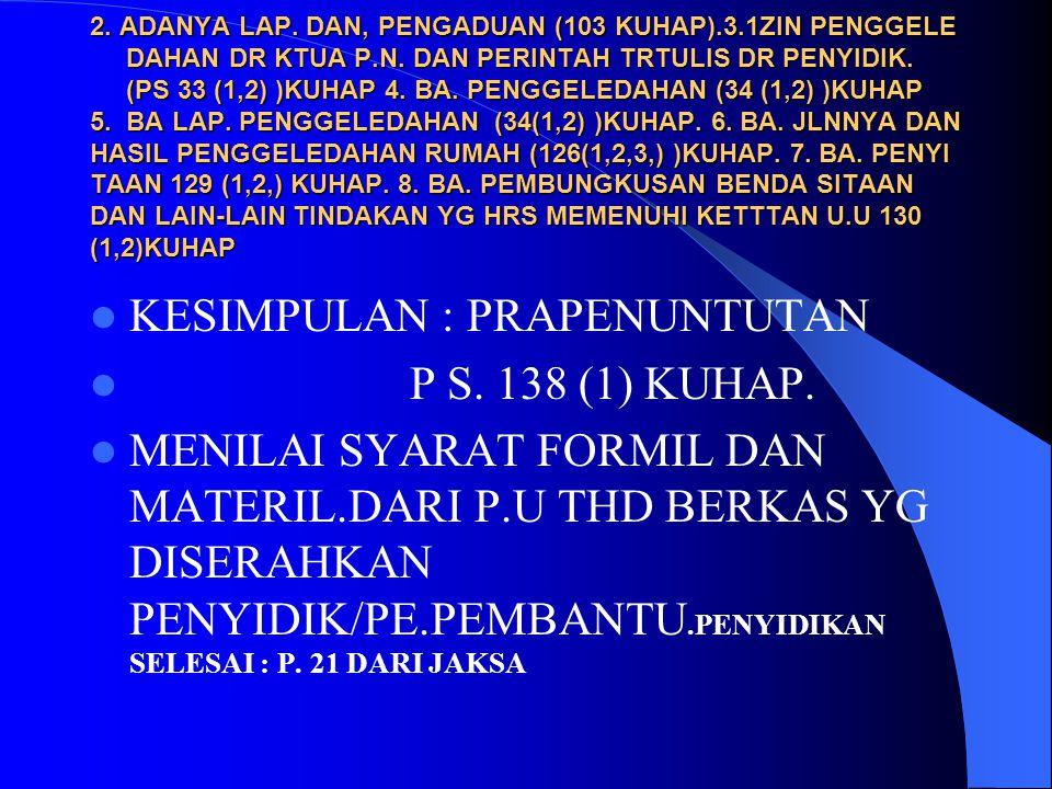 KESIMPULAN : PRAPENUNTUTAN P S. 138 (1) KUHAP.