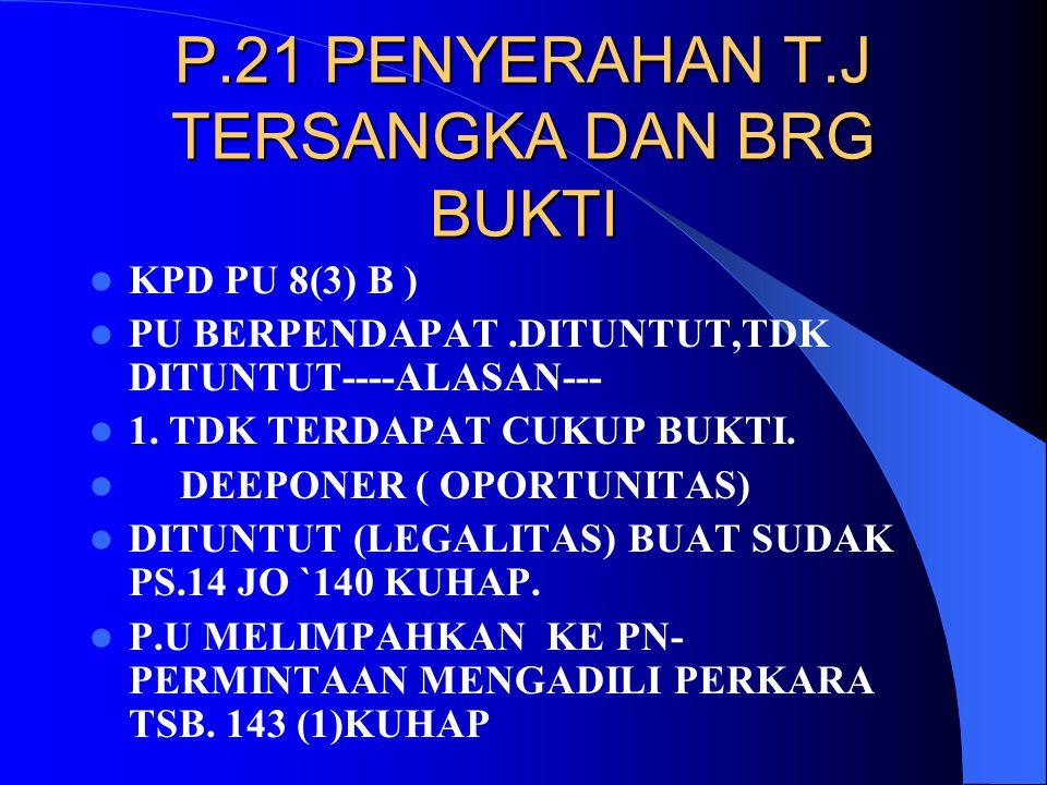 P.21 PENYERAHAN T.J TERSANGKA DAN BRG BUKTI