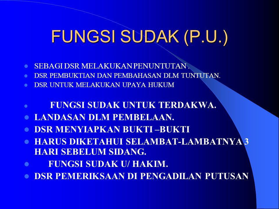 FUNGSI SUDAK (P.U.) LANDASAN DLM PEMBELAAN.