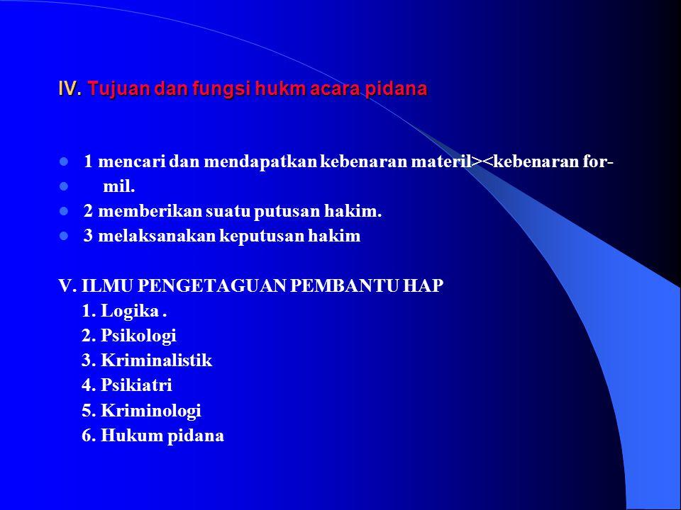 IV. Tujuan dan fungsi hukm acara pidana