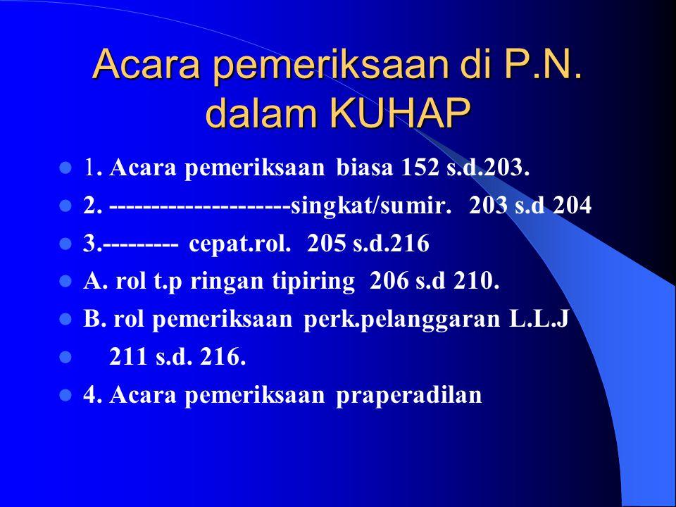 Acara pemeriksaan di P.N. dalam KUHAP