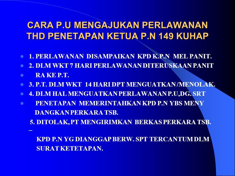 CARA P.U MENGAJUKAN PERLAWANAN THD PENETAPAN KETUA P.N 149 KUHAP