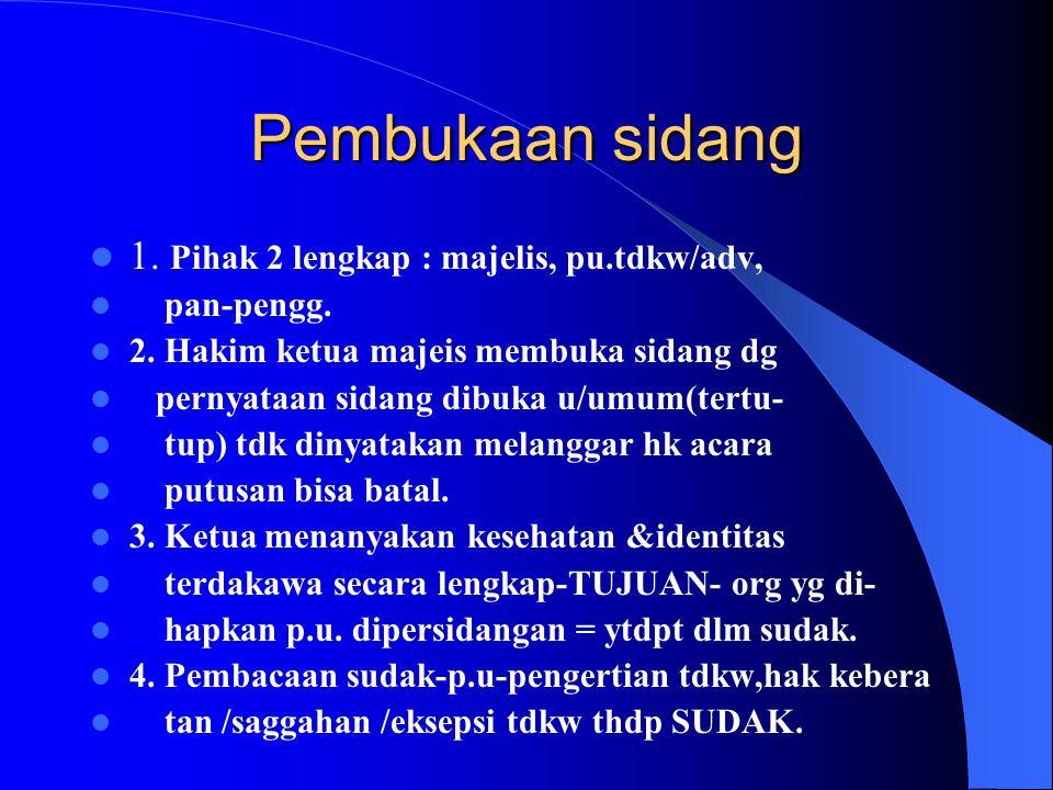 Pembukaan sidang 1. Pihak 2 lengkap : majelis, pu.tdkw/adv, pan-pengg.