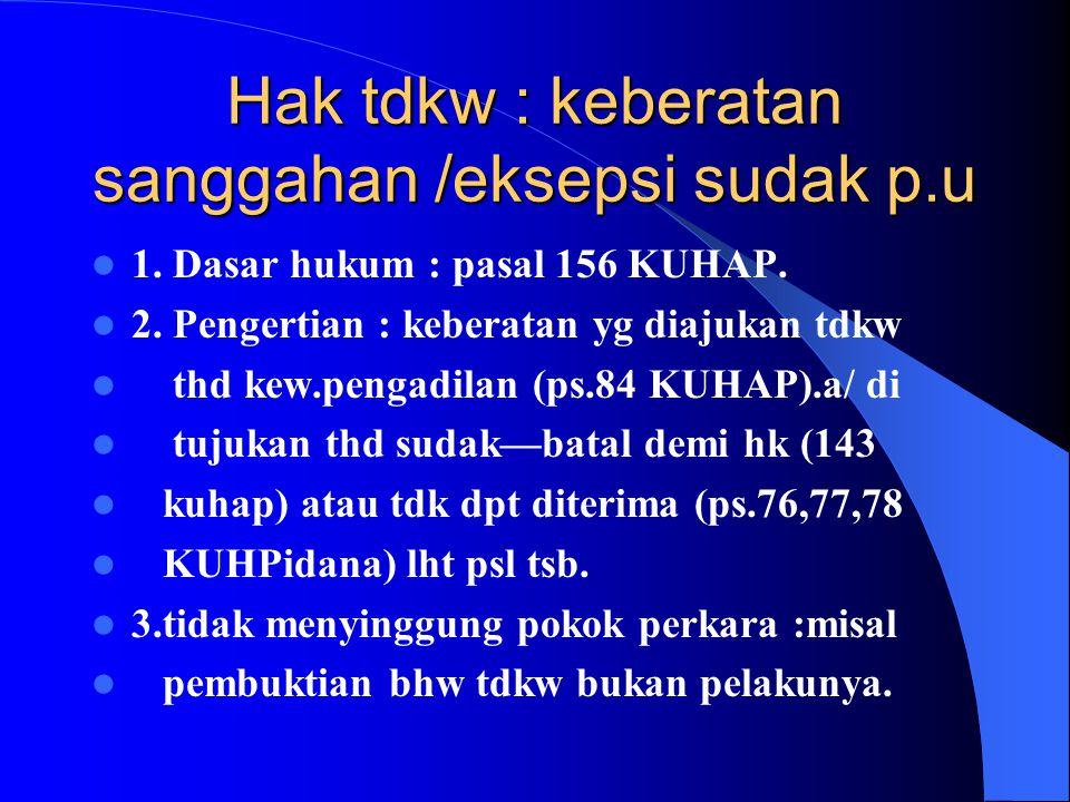 Hak tdkw : keberatan sanggahan /eksepsi sudak p.u