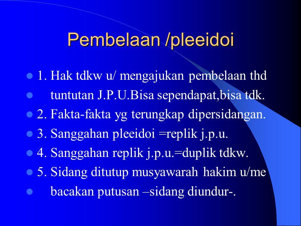 Pembelaan /pleeidoi 1. Hak tdkw u/ mengajukan pembelaan thd