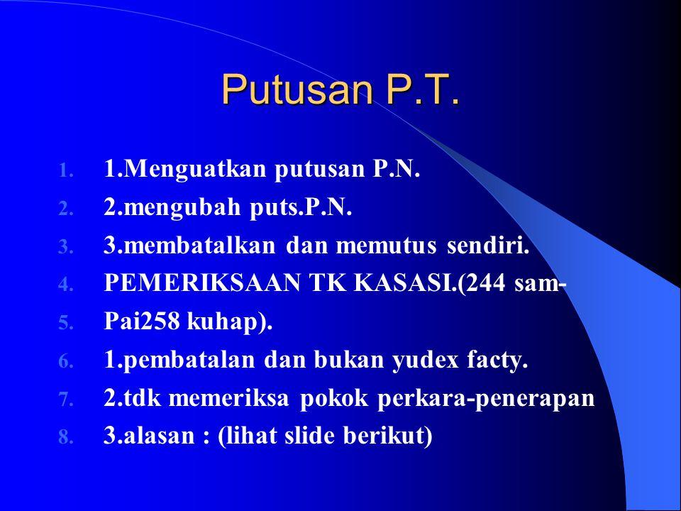 Putusan P.T. 1.Menguatkan putusan P.N. 2.mengubah puts.P.N.