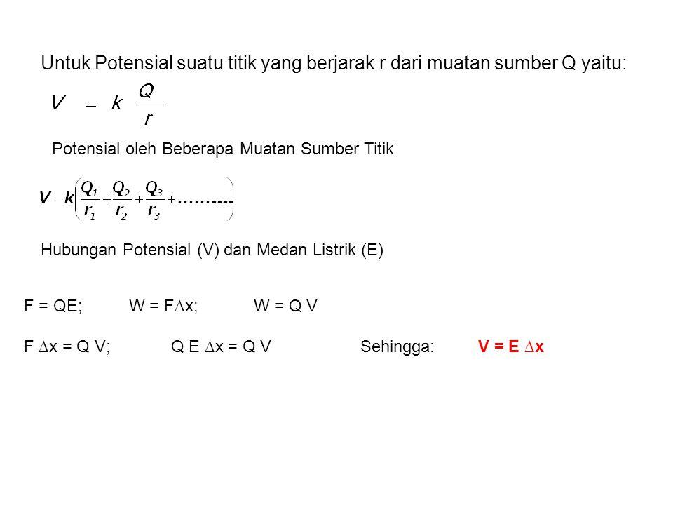 Untuk Potensial suatu titik yang berjarak r dari muatan sumber Q yaitu: