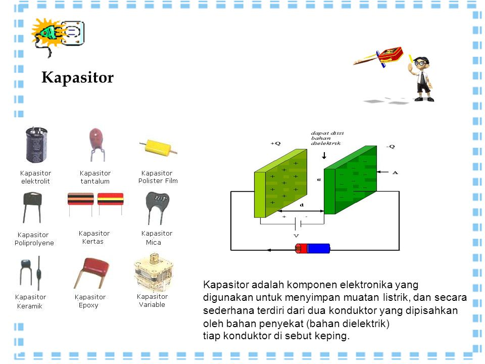 Kapasitor Kapasitor adalah komponen elektronika yang