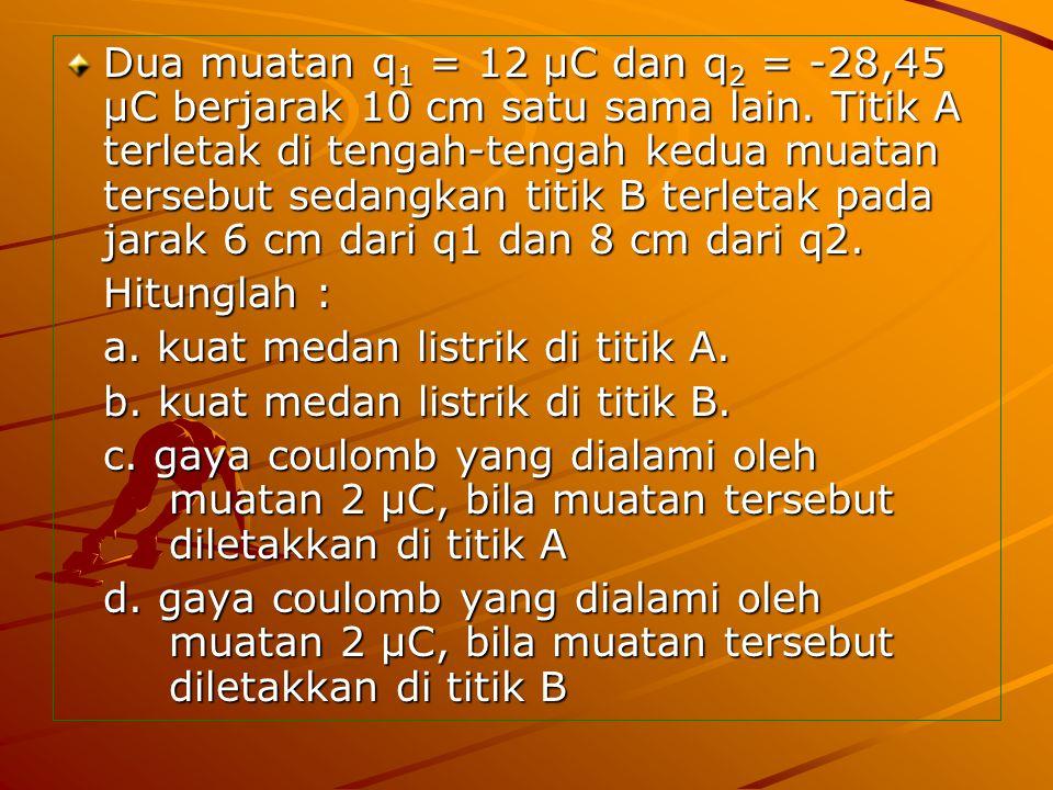 Dua muatan q1 = 12 μC dan q2 = -28,45 μC berjarak 10 cm satu sama lain