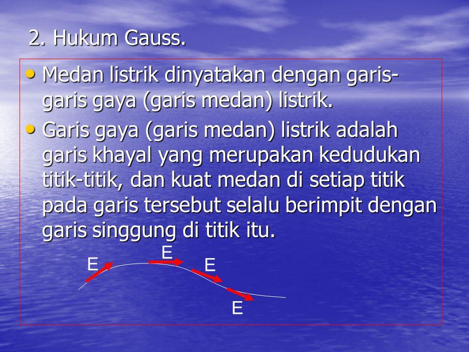 2. Hukum Gauss. Medan listrik dinyatakan dengan garis-garis gaya (garis medan) listrik.