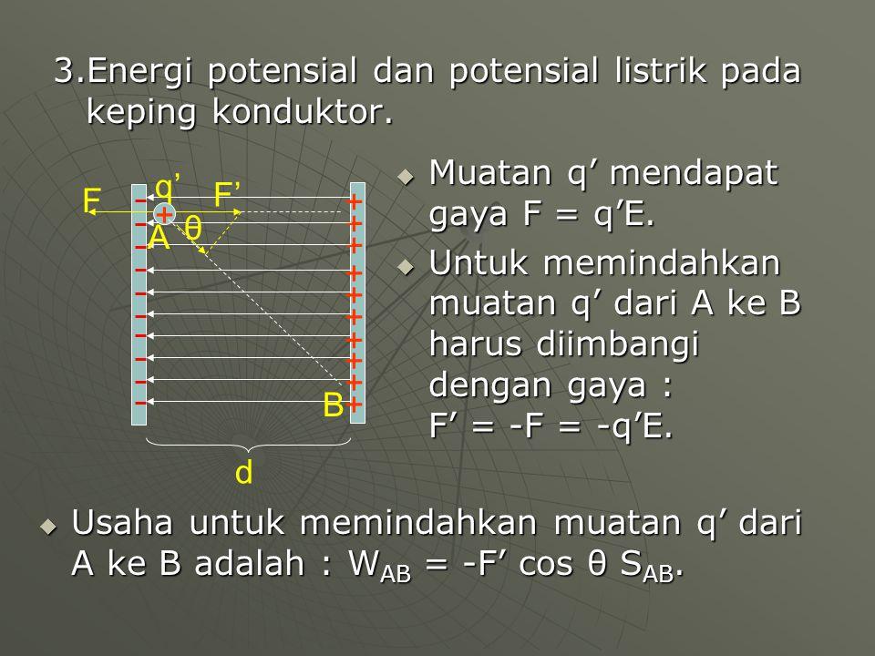 3.Energi potensial dan potensial listrik pada keping konduktor.