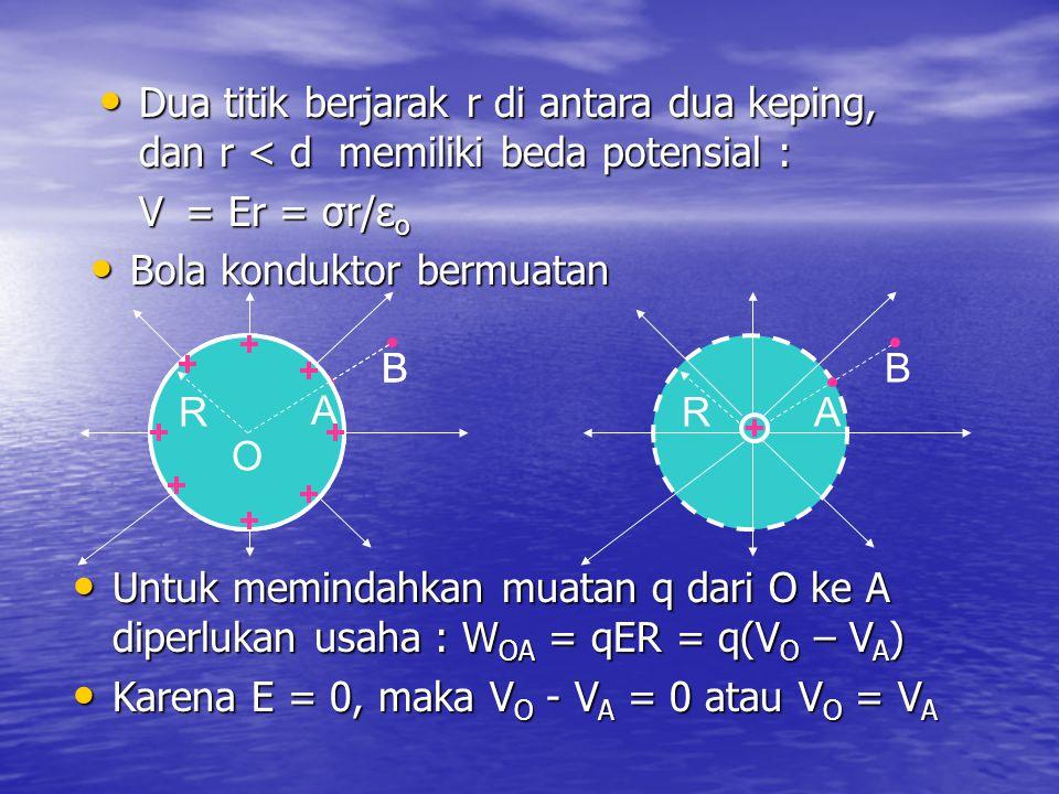 Dua titik berjarak r di antara dua keping, dan r < d memiliki beda potensial :