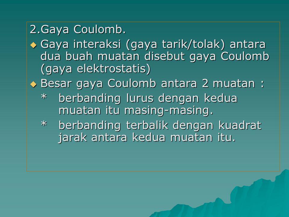 2.Gaya Coulomb. Gaya interaksi (gaya tarik/tolak) antara dua buah muatan disebut gaya Coulomb (gaya elektrostatis)