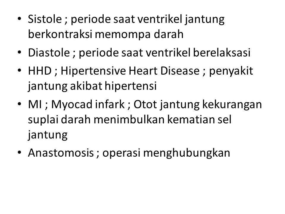 Sistole ; periode saat ventrikel jantung berkontraksi memompa darah