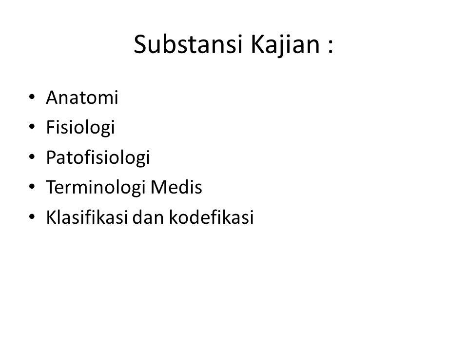 Substansi Kajian : Anatomi Fisiologi Patofisiologi Terminologi Medis