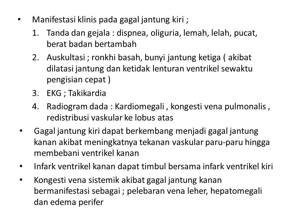 Manifestasi klinis pada gagal jantung kiri ;