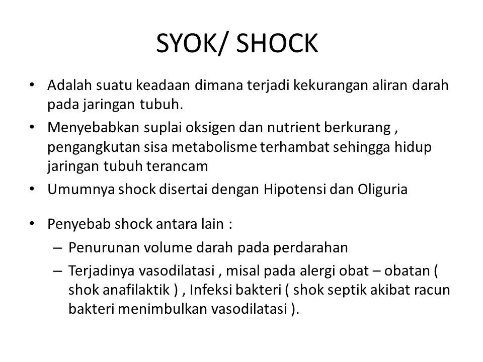SYOK/ SHOCK Adalah suatu keadaan dimana terjadi kekurangan aliran darah pada jaringan tubuh.