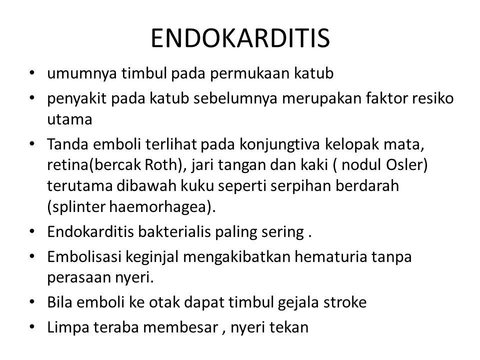 ENDOKARDITIS umumnya timbul pada permukaan katub