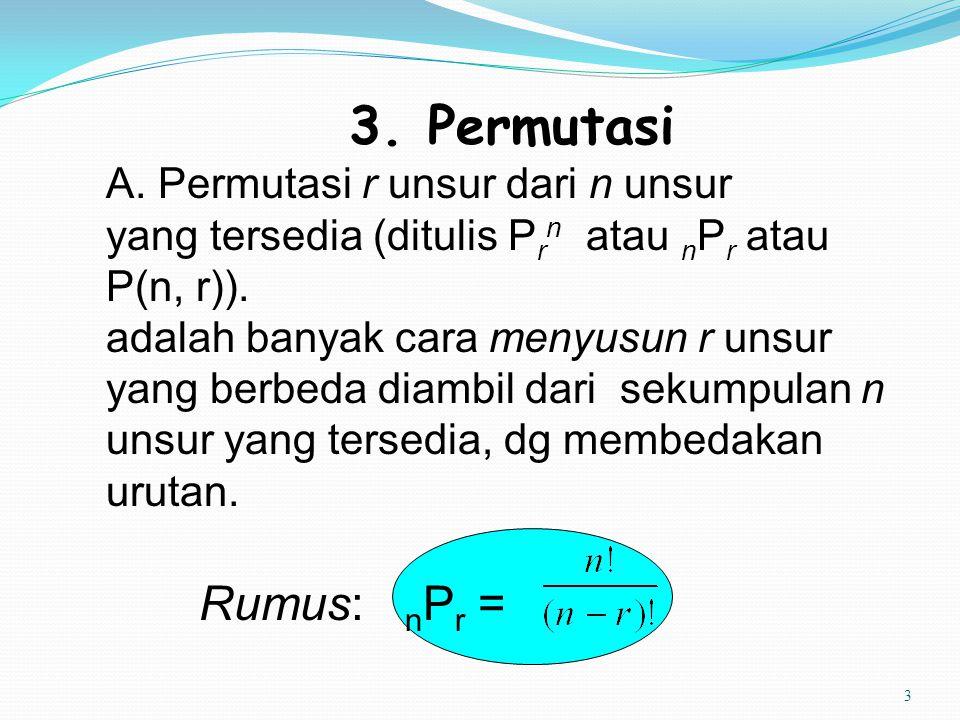 3. Permutasi Rumus: nPr = A. Permutasi r unsur dari n unsur