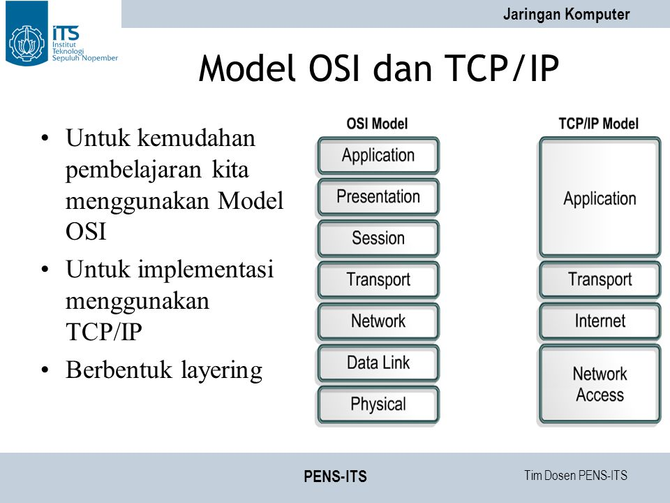 Model OSI dan TCP/IP Untuk kemudahan pembelajaran kita menggunakan Model OSI. Untuk implementasi menggunakan TCP/IP.