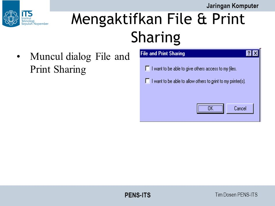 Mengaktifkan File & Print Sharing