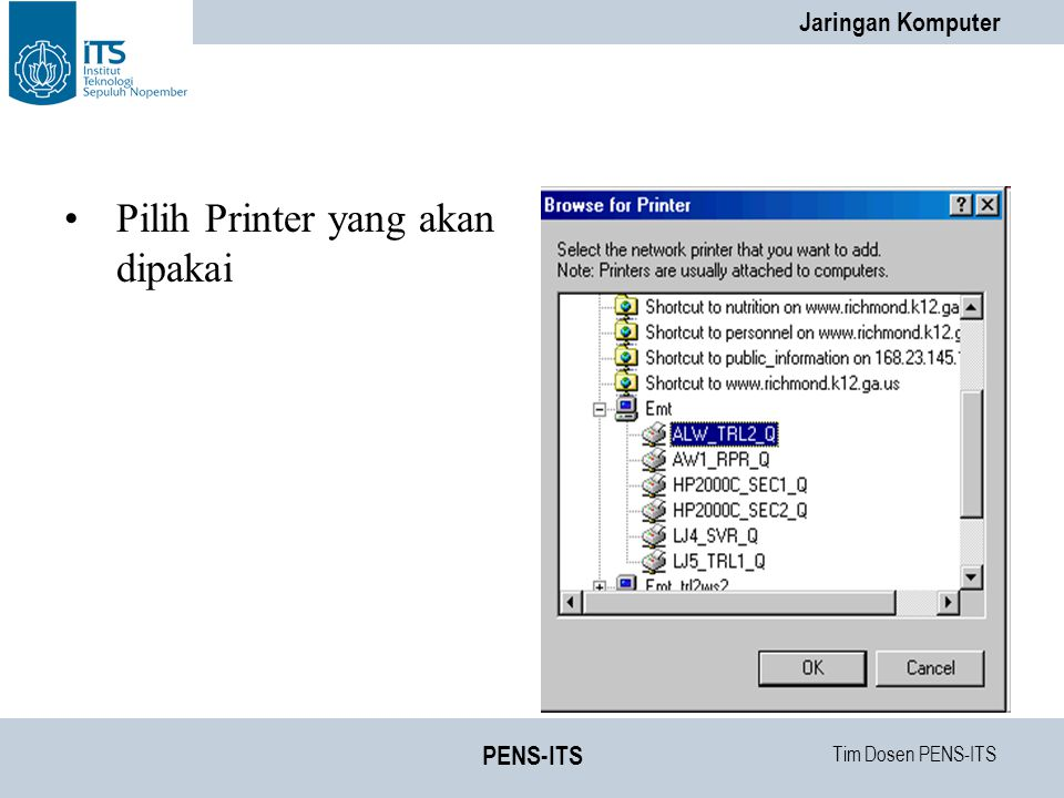 Pilih Printer yang akan dipakai