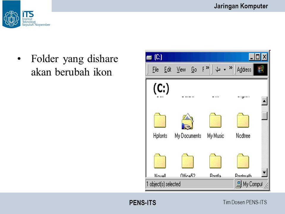 Folder yang dishare akan berubah ikon