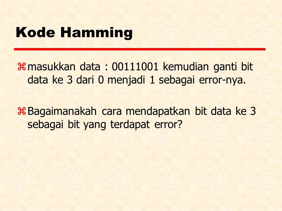 Kode Hamming masukkan data : 00111001 kemudian ganti bit data ke 3 dari 0 menjadi 1 sebagai error-nya.