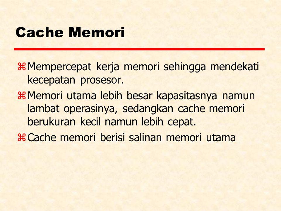 Cache Memori Mempercepat kerja memori sehingga mendekati kecepatan prosesor.