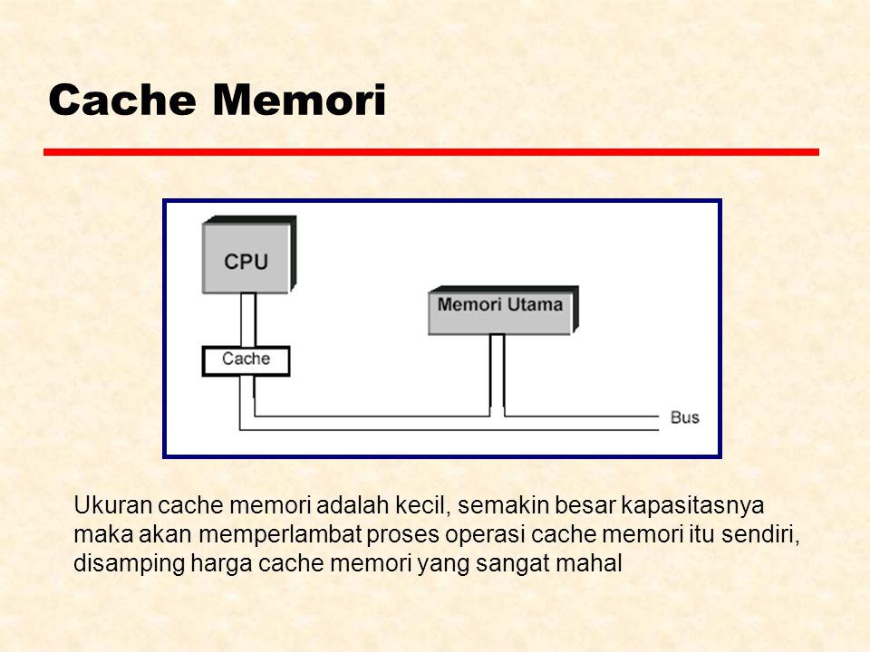 Cache Memori Ukuran cache memori adalah kecil, semakin besar kapasitasnya. maka akan memperlambat proses operasi cache memori itu sendiri,