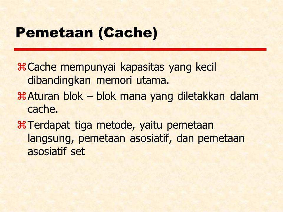 Pemetaan (Cache) Cache mempunyai kapasitas yang kecil dibandingkan memori utama. Aturan blok – blok mana yang diletakkan dalam cache.