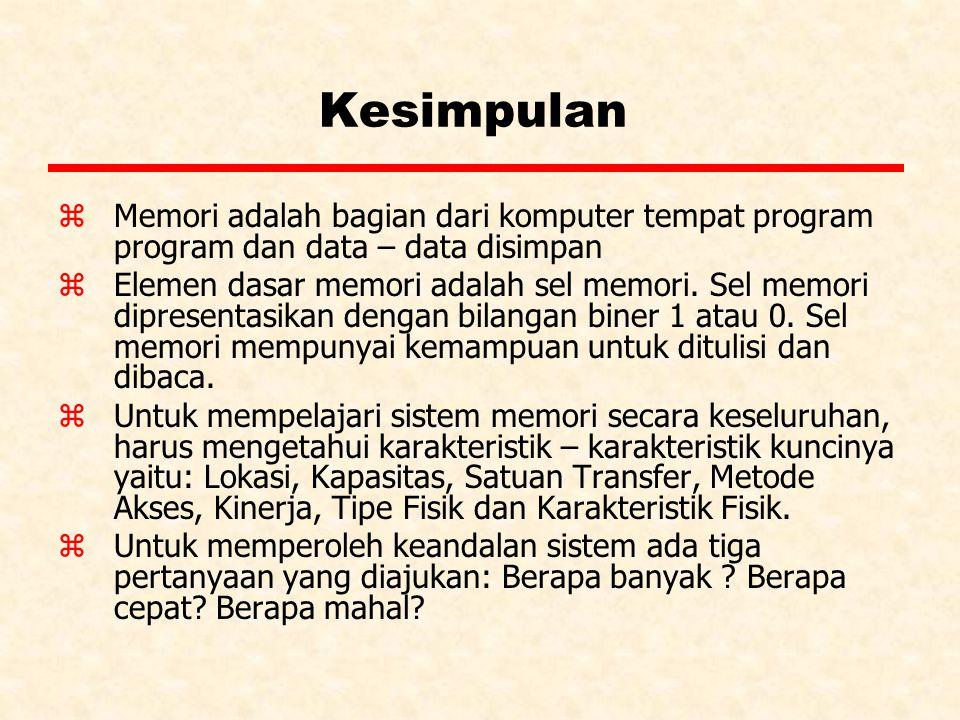 Kesimpulan Memori adalah bagian dari komputer tempat program program dan data – data disimpan.
