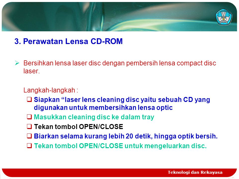3. Perawatan Lensa CD-ROM