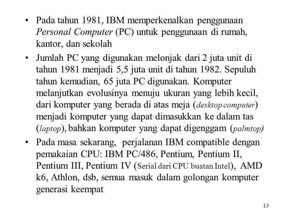 Pada tahun 1981, IBM memperkenalkan penggunaan Personal Computer (PC) untuk penggunaan di rumah, kantor, dan sekolah