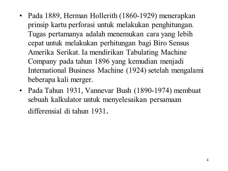 Pada 1889, Herman Hollerith (1860-1929) menerapkan prinsip kartu perforasi untuk melakukan penghitungan. Tugas pertamanya adalah menemukan cara yang lebih cepat untuk melakukan perhitungan bagi Biro Sensus Amerika Serikat. Ia mendirikan Tabulating Machine Company pada tahun 1896 yang kemudian menjadi International Business Machine (1924) setelah mengalami beberapa kali merger.