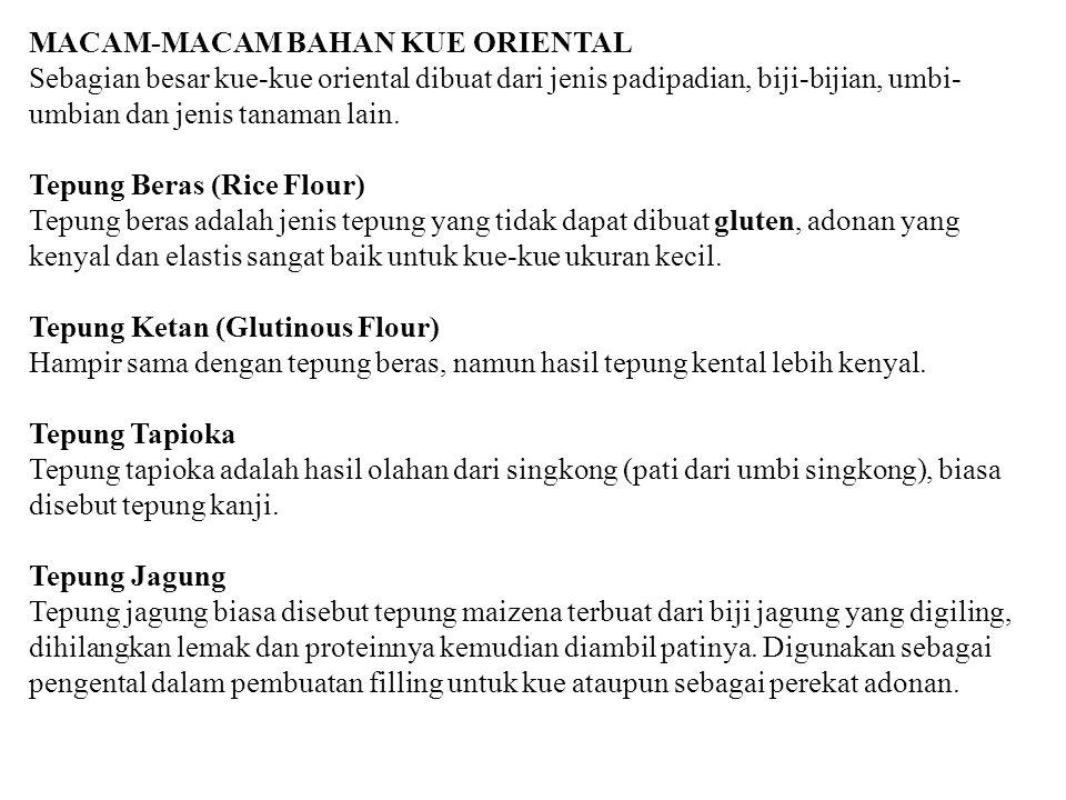 MACAM-MACAM BAHAN KUE ORIENTAL