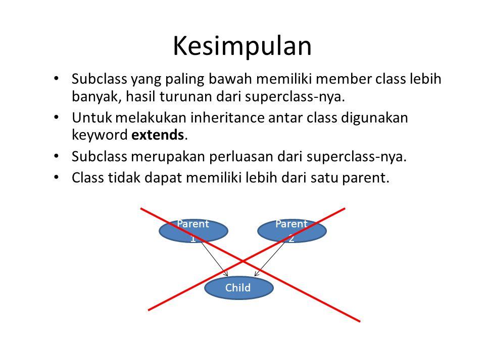 Kesimpulan Subclass yang paling bawah memiliki member class lebih banyak, hasil turunan dari superclass-nya.