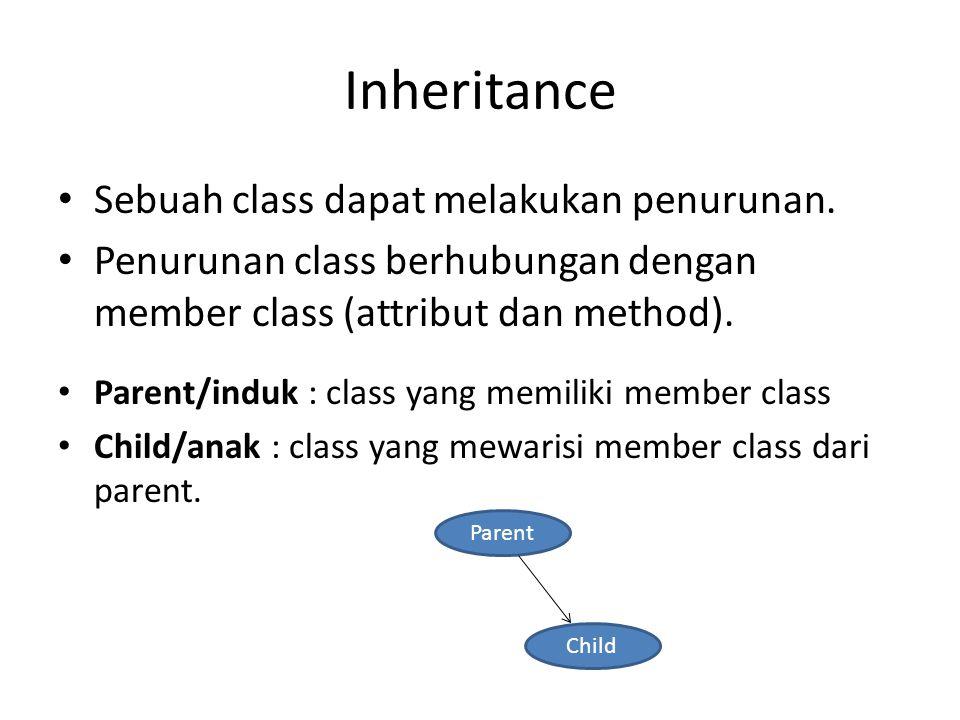 Inheritance Sebuah class dapat melakukan penurunan.