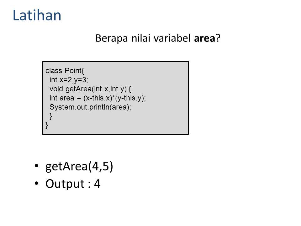 Berapa nilai variabel area