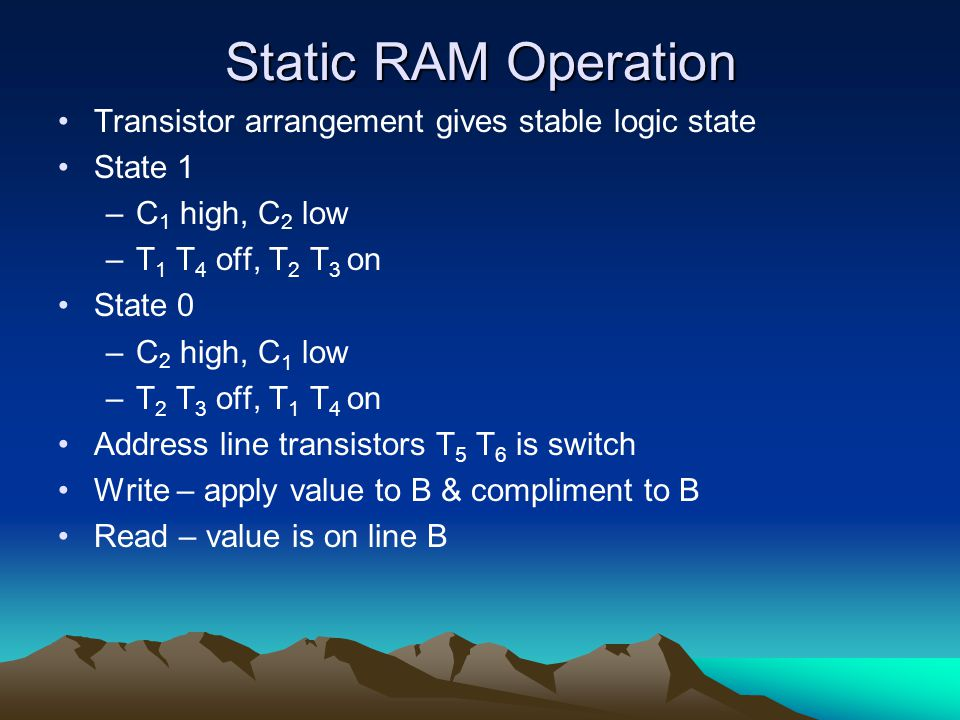 Static RAM Operation Transistor arrangement gives stable logic state