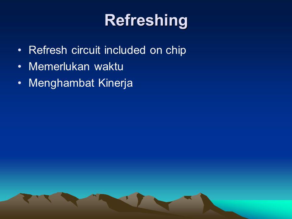 Refreshing Refresh circuit included on chip Memerlukan waktu