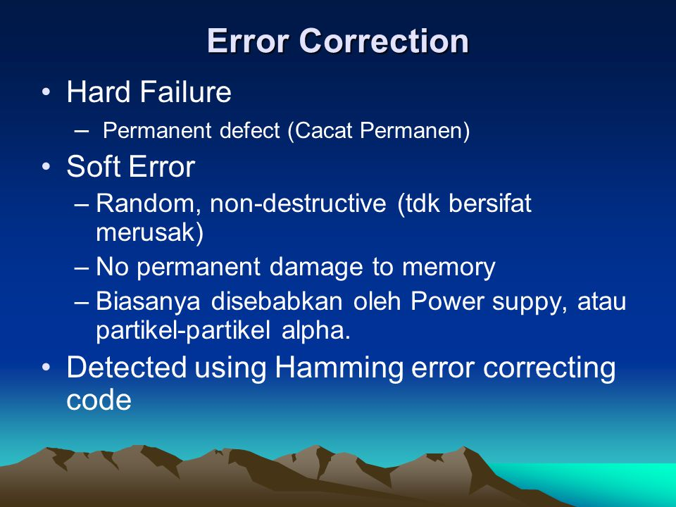 Error Correction Hard Failure Soft Error