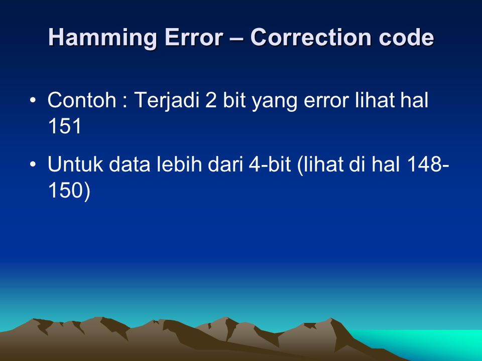 Hamming Error – Correction code