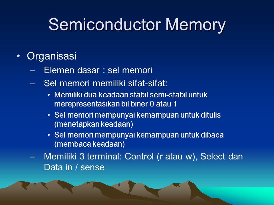 Semiconductor Memory Organisasi Elemen dasar : sel memori