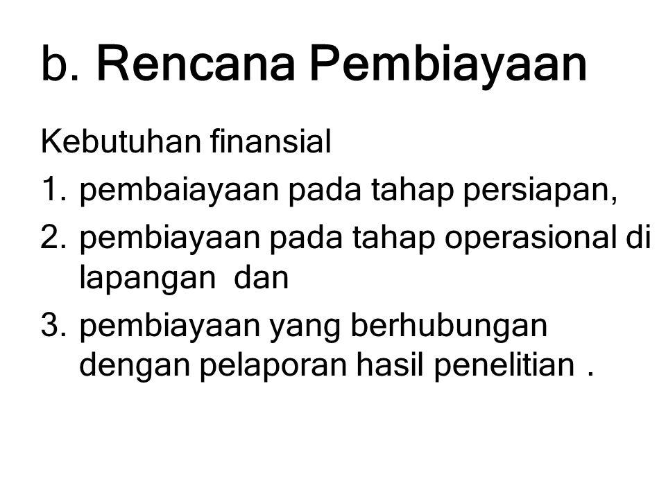 b. Rencana Pembiayaan Kebutuhan finansial