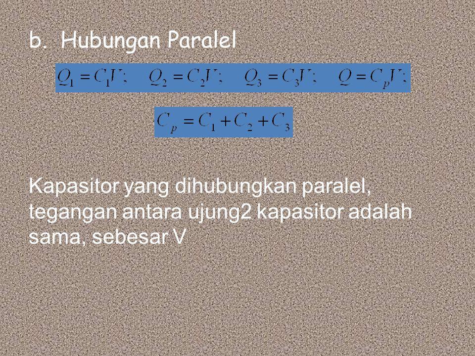 Hubungan Paralel Kapasitor yang dihubungkan paralel, tegangan antara ujung2 kapasitor adalah sama, sebesar V.