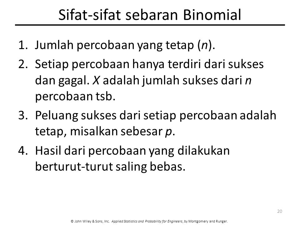 Sifat-sifat sebaran Binomial