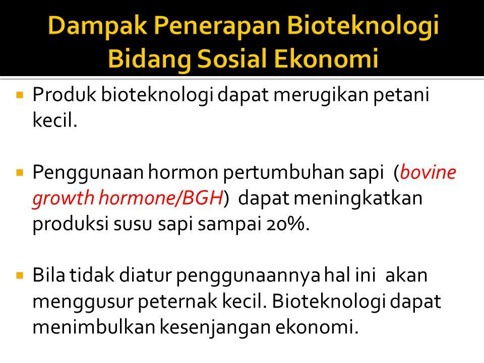 Dampak Penerapan Bioteknologi Bidang Sosial Ekonomi