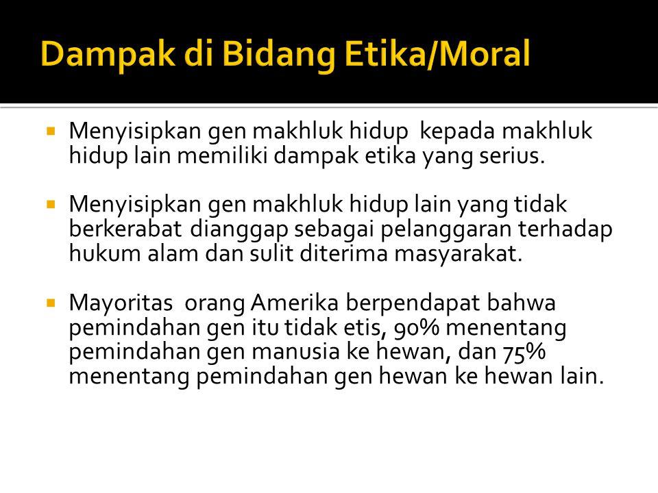 Dampak di Bidang Etika/Moral